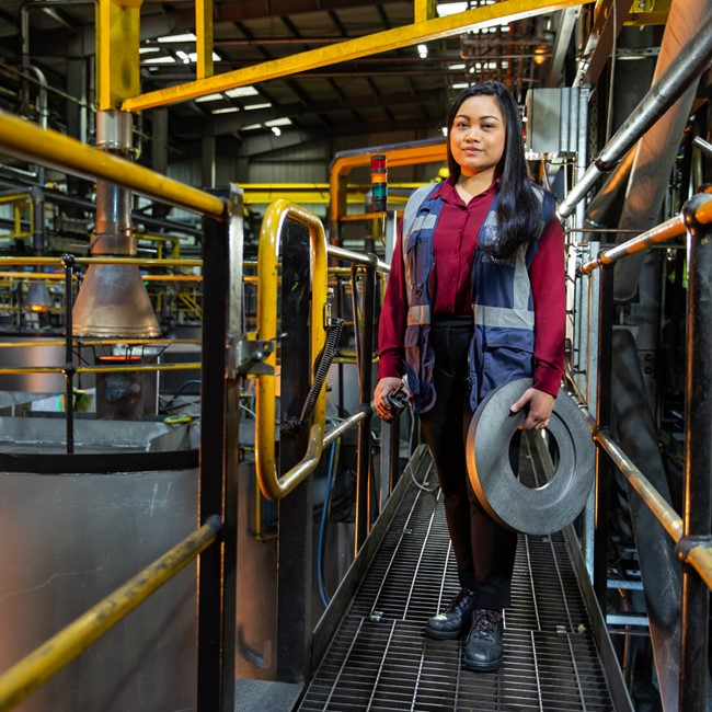A woman in an engineering works