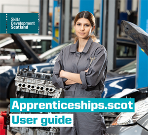 Cover photo from Apprenticeships.scot user guide featuring young mechanic